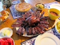 Healthy food includes barbecue. Photo/B. Yarnell