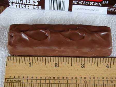 Snickers candy bar, unwrapped and measured. Photo/B.Yarnell