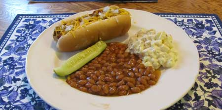 Hot dog recipes with chili, cheese and onions. Photo/B.Yarnell